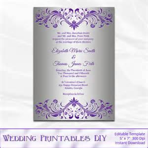 silver foil wedding invitations silver foil wedding invitation template diy purple and silver