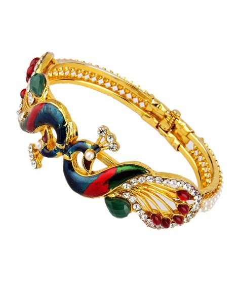 pattern of gold kada adhira trendy peacock pattern 24kt gold plated kada buy