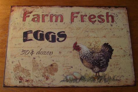 tin vintage style rooster 4pc country primitive kitchen country primitive fresh eggs farm rooster chicken vintage