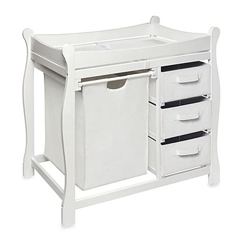 Badger Basket Changing Table White Badger Basket Sleigh Changing Table With Her And 3 Baskets In White Bed Bath Beyond