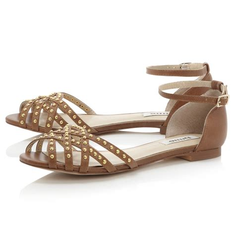 Berties Jackie O Silver Sandals by Dune Jackie Womens Brown Strappy Studded Flat