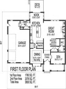 Floor Plans With Porches by 2 Story Architect Home 4 Bedroom Open Floor Plan Front