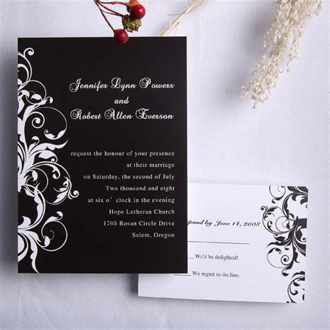 wedding invitations classic black and white damask wedding invitations ewi023