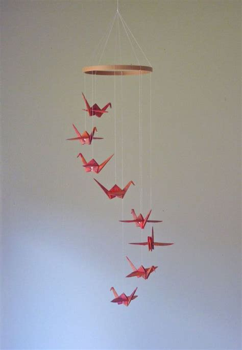 Origami Bird Mobile - origami crane mobile eco friendly baby mobile children