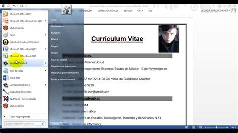 como hacer un curriculum vitae en microsoft word 2010 como crear un curriculum vitae en word office 2013 youtube