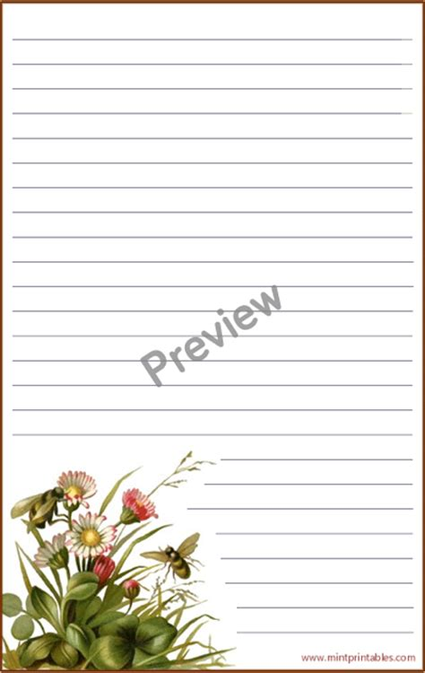 printable bee stationery bees and wild flowers printable stationery
