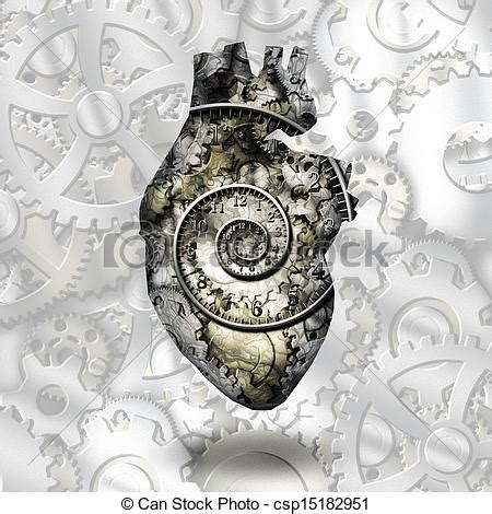 stock illustrations of human heart gears and time spirial