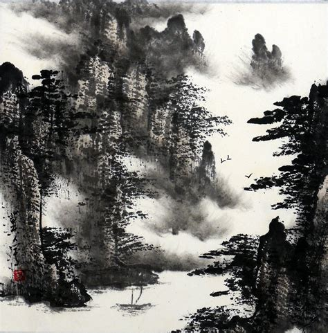 oriental mountain tattoo chinese mountain landscape paintings images