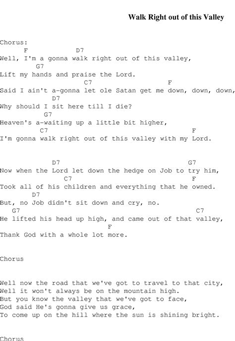 of velly lyrics walk right out of this valley christian gospel song