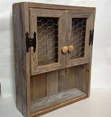 Wood Bathroom Storage Rustic Cabinet Reclaimed Wood Shelf Chicken Wire Decor Bathroom Wall Storage Wooden Spice Rack