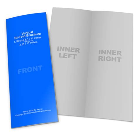 Vertical Fold Card Template by Vertical Bi Fold Brochure Mockup Cover Actions Premium