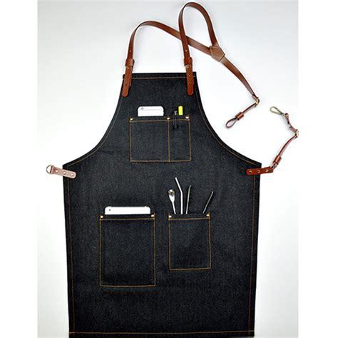 Appron Celemek Denim black denim bib apron tailor studio