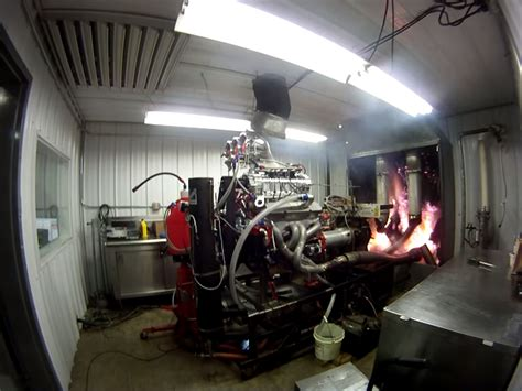 video blown alcohol engine dyno test ends  exhaust explosion