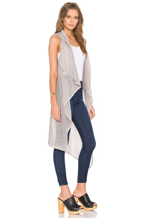 Gray Sleeveless Two Dress bobi mesh sweater sleeveless cardigan in gray lyst