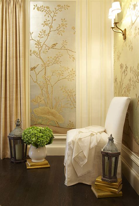 gold wallpaper dining room metallic wallpaper transitional entrance foyer