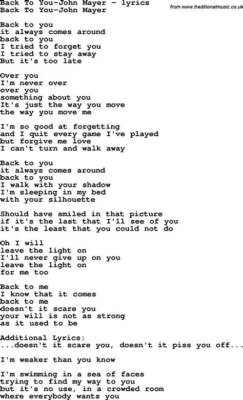 download mp3 back to you john mayer love song lyrics for back to you john mayer