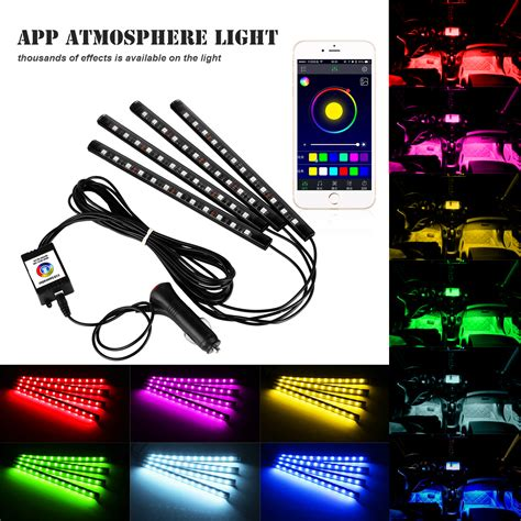 led lights controlled by phone wireless bluetooth phone car led interior