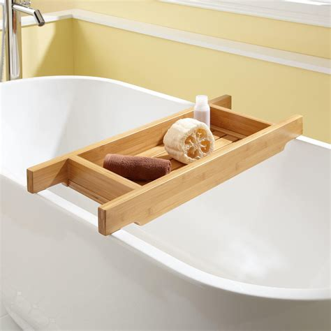 bathtub caddies 30 quot hancock bamboo tub caddy clawfoot tub accessories