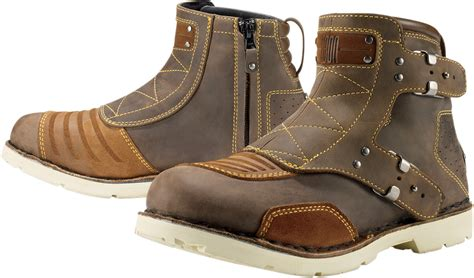 brown motorcycle boots for icon 1000 el bajo leather motorcycle boot brown
