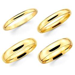 Wedding Bands Solid 10k Yellow Gold 2mm 3mm 4mm 5mm Comfort Fit