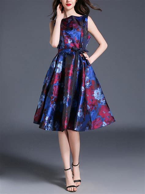 boat neck dress outfit wholesale boat neck jacquard floral party outfit dress