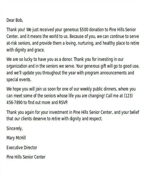 charity tax letter sle donation letter