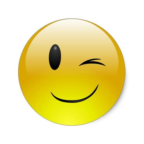 emoji wink winking emoji smiley face custom sticker zazzle com
