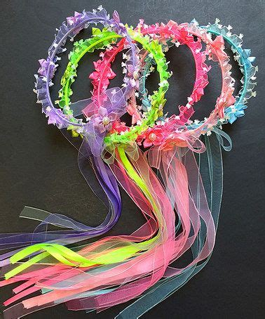 cutie collections pink blue flower halo headband set flower pink blue and blue