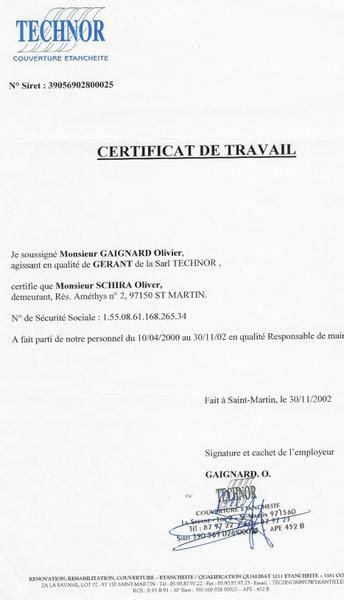 Technor Certificat De Travail Cv Interactif