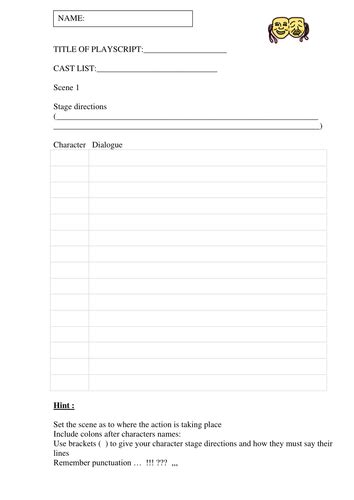 Playscript Templates By Ahorsecalledarchie Teaching Dialogue List Template