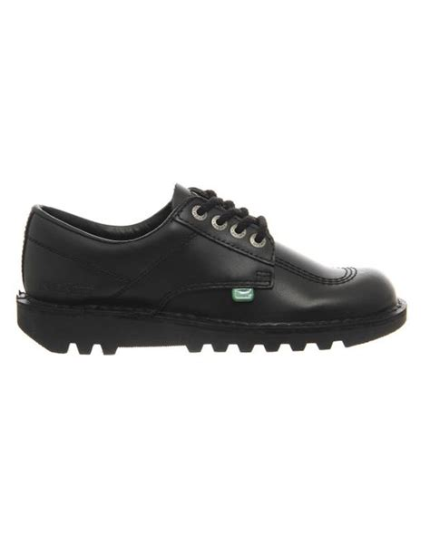 kickers flat shoes kickers kick lo black lace up flat shoes in black save