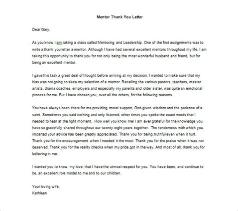 thanking letter to from thank you letter to mentor 9 free sle exle