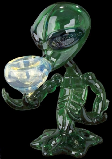 Alien with Dichroic Eyes Glass Pipe