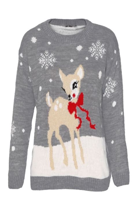 knitting pattern christmas jumper reindeer ladies women novelty xmas reindeer snowflakes christmas