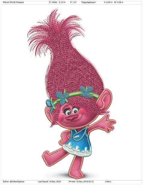 Embroidery Applique Design by Princess Poppy From Trolls Applique 7 Inches