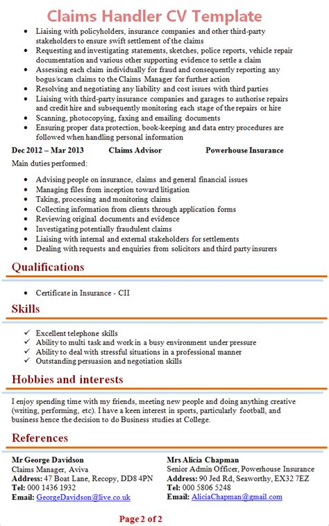 Claim Handler Cover Letter by Writing Hobbies And Interests On Cv