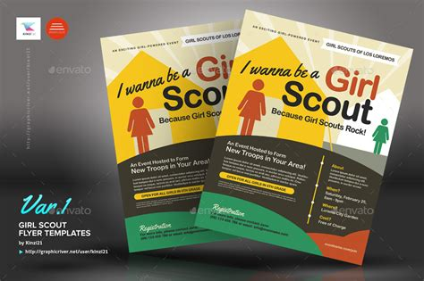 Girl Scout Flyer Templates By Kinzi21 Graphicriver Scout Flyer Template