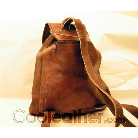 handmade cool leather backpack with one big front pocket