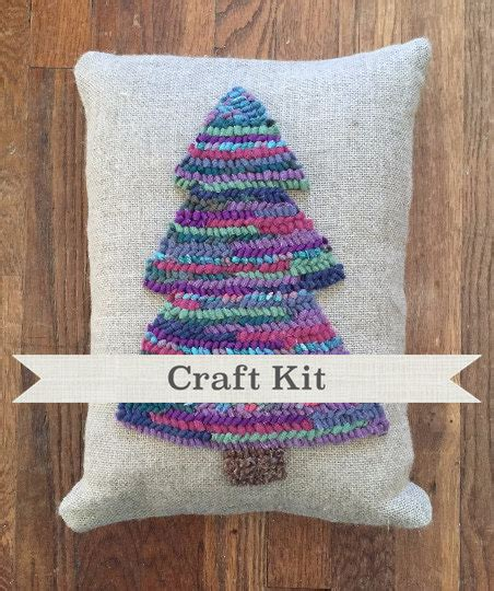 make your own rug kit winter tree complete rug hooking kit in gift box make your own 12 x 16 inch linen pillow