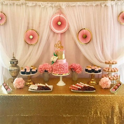 pink and gold baby shower table decorations pink and gold baby shower cakecentral com