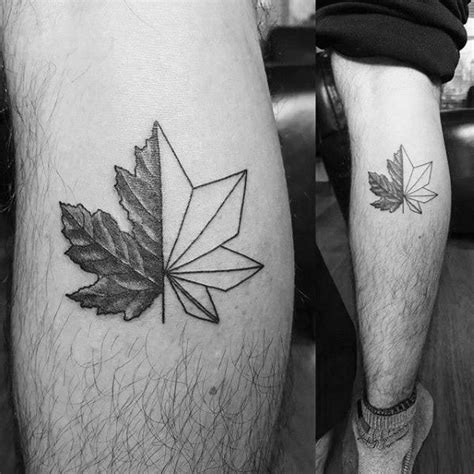 small leg tattoos for men small simple guys maple leaf geometric leg calf