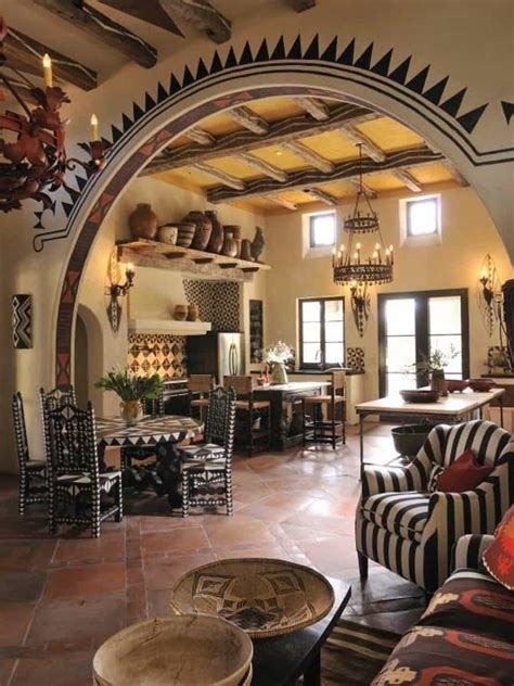 southwestern style southwestern style homes kitchen room with archway and