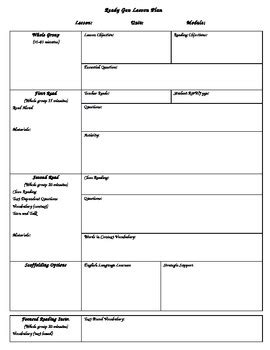 Readygen Lesson Plan Template By First Grade Fabulous Tpt 1st Grade Lesson Plan Template