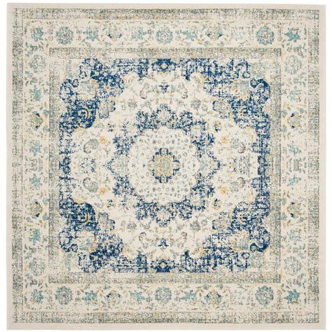 Square Area Rugs 9 X 9 Safavieh Evoke Ivory Blue 9 Ft X 9 Ft Square Area Rug Evk220c 9sq The Home Depot