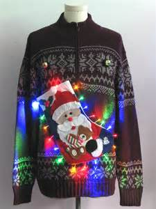 mens multicolor lightup hand embellished ugly christmas