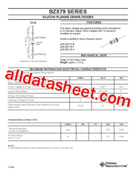 general semiconductor zener diode bzx79b36 datasheet pdf general semiconductor