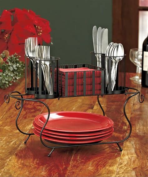 Buffet Caddy Plates Silverware Flatware Napkins Organizer Buffet Caddy Plate Flatware Organizer
