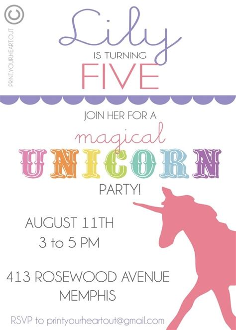 printable rainbow unicorn invitations 11 best images about rainbow unicorn party on pinterest