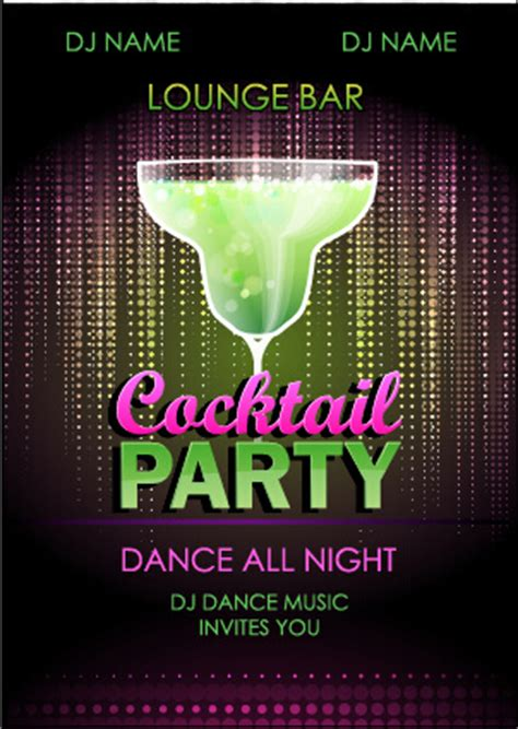 vintage cocktail party poster retro party poster design free vector download 11 037