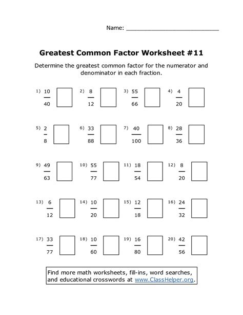 Common Math Worksheets 6th Grade by 10 Best Images Of Fractions Greatest Common Factors